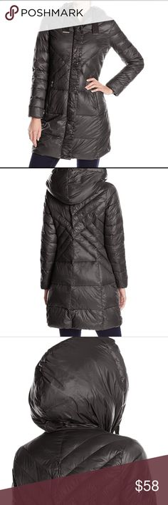 NWT T Tahari Down Coat, Black Size-Large This coat is new with tags. The shell is 100% Nylon and it's a quilted coat feat. concealed placket and silver tone tipping at hood's drawstring. The color of the coat is black and it is a size Large. It's a light coat but very warm and comfortable. T Tahari Jackets & Coats Puffers