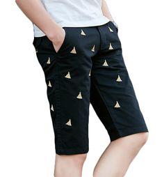 BLACK CASUAL MENS SAIL SLIM BOATS EMBROIDERED HIGH END SHORTS  #fashion #mens #mensfashion #shorts #mensshorts #pilaeo #mensShop