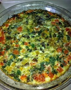 (C1) Veggie Frittata 3 egg whites 1 egg with yolk yellow pepper onion green onion mushroom fresh dill tomato 1 tbsp fat free feta.  Saute the veggies (except tomato and dill) for a few minutes prior to adding to beaten eggs.  Then mix all together in a baking dish that's been sprayed with PAM-type spray.  Also, you can sprinkle very lightly with just bit of low fat parmesan about 1 tsp after baking for about 20 minutes at 325.