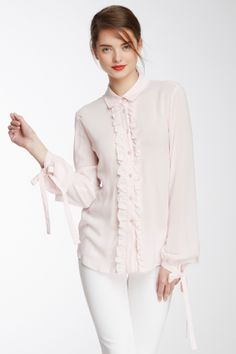 RED Valentino Ruffled Front Blouse on HauteLook
