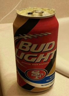 San Francisco Bud Light Beer Can Football Love, Nfl Football Teams, Sf Forty Niners, Bud Light Beer, 49ers Fans, Superbowl Champions, Dr Pepper Can, San Francisco 49ers, San Fransisco