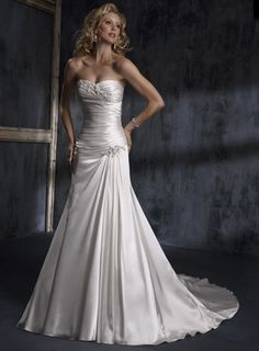 Attractive Strapless Sleeveless Satin wedding dress $323.00