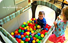 Add balls to your pack n' play to make your own ball pit.