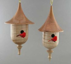 Woodturning ideas for gifts: mini birdhouse ornaments
