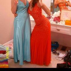 Cache Orange Sequins Prom/Gown Dress