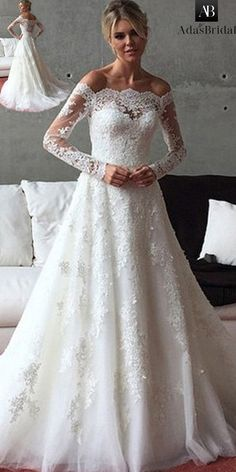 NEW! Romantic Tulle Off-the-shoulder Neckline A-line Wedding Dress With Beadings & Lace Appliques