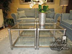 "The Gilda cube coffee table on an antiqued silver base with glass top and glass shelf below. Four shown here together. Cool, contemporary style! Measures 22""square x 19""high. Each priced individually."