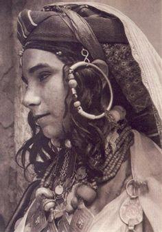 Africa | Jewish Berber, High Atlas, 1935. Postcard car image from Marrakech