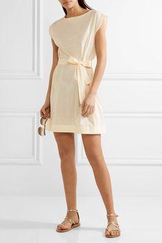 Eres - Belted Slub Cotton-jersey Mini Dress - Cream - 1