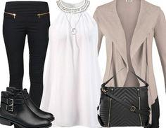 Trendy #Businessoutfit ♥ Hier kaufen: http://stylefru.it/s213119 #beige #schwarz #weiß #stiefeletten