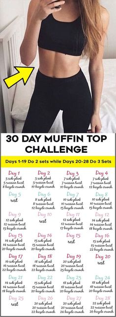 This 30 day muffin top challenge is designed to hit your belly at all angles.