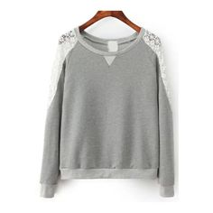 SheIn(sheinside) Grey Round Neck Lace Shoulder Crop Sweatshirt ($20) ❤ liked on Polyvore featuring tops, hoodies, sweatshirts, grey, grey sweatshirt, long sleeve crop top, gray crop top, lace top and long sleeve pullover