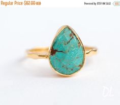 SALE - Turquoise Ring Ring - December Birthstone Ring - Gem Ring - Solitaire Ring - Gold Ring - Stackable Ring - Tear Drop Ring - Gold Ring by delezhen on Etsy https://www.etsy.com/listing/399975337/sale-turquoise-ring-ring-december