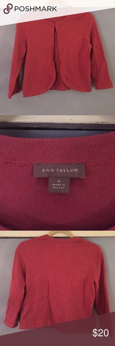 ANN TAYLOR Scalloped Sweater (Shrug) Beautiful Ann Taylor scalloped cropped sweater in Raspberry. Worn twice. Great condition. Works well as an over dress sweater for special occasions or over a tank and pair of jeans. Ann Taylor Sweaters