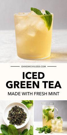 This refreshing iced green tea from Oh, How Civilized is super easy to make. This delicious tea tastes smooth, crisp, and refreshing. The addition of fresh mint gives it an extra refreshing kick. #mint #tea #icedtea #greentea High Tea Recipes, Green Tea Recipes, Iced Tea Recipes, Peach Ice Tea, Mint Tea, Loose Green Tea, High Tea Food, Making Iced Tea, Herbal Teas