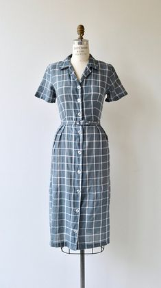 Windowpane Check dress vintage 1950s dress 50s cotton