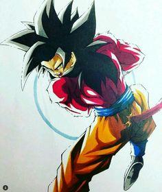 Dragon Ball Gt, Dragon Z, Super Saiyan 4 Goku, Western Anime, Teeth Drawing, Z Wallpaper, Manga Love, Fanart, Drawings