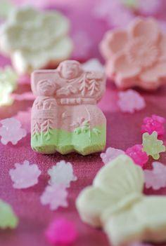 Japanese higashi, dry sweets for Girls' Day celebration