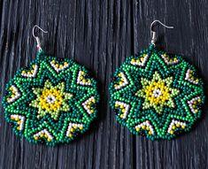 Items similar to Tibetan mandala seed bead crochet yoga earrings snake green boho jewelry Geometric summer hippie beadwork earrings mandala accessories on Etsy Mandala Jewelry, Geometric Jewelry, Boho Jewelry, Beaded Jewelry, Beaded Rings, Jewellery, Bead Crochet, Crochet Earrings, Tibetan Mandala