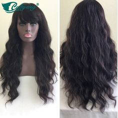 170.32$  Buy here - http://ali1qc.worldwells.pw/go.php?t=32427428237 - Hand Tied Full Lace Human Hair Wigs With Bangs Virgin Brazilian Glueless Long Wavy Human Hair Wigs With Full Bangs On Sale 170.32$