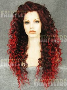 Drag Queen Wigs Long Curly Synthetic Red Two Tone Lace Front Wig Cheap Lace Front Wigs, Synthetic Lace Front Wigs, Synthetic Wigs, Front Lace, Ombre Wigs, Ombre Hair, Curly Wigs, Human Hair Wigs, Curly Perm