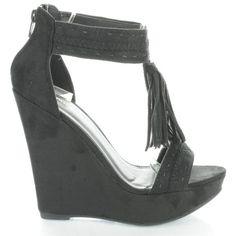 Madison115 Tassel T Strap Platform High Wedge Heels