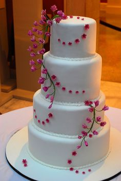 Wedding Cake with Hot Pink Flowers