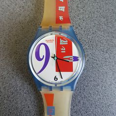 BOLD FACE! Funky, Colorful ART Swatch By Beatrice Santicciolli, 1990 Swatch 'Bold Face' Unisex Quartz Watch   Swatch : Art & Collectibles,  Collectibles,  Memorabilia,  swatch sweet baby,  swatch,  mint swatch,  babies swatch, collectible watch,  unusual watch,  swatch watch, vintage swatch , 90s swatch,1980s 1990s designs,