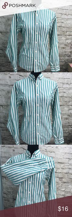 Liz Claiborne Turquoise & White Striped Shirt Liz Claiborne Brand turquoise & white striped button down long sleeve shirt. Size large. Thank you for looking and I invite you to check out the rest of my closet! Claiborne Tops Button Down Shirts