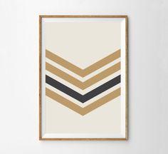 Sargeant Print - Gold & Charcoal Minimalist Midcentury Wall Art Print Home Decor - Vintage Style Chevron Poster - Boys Room Decor - Mustard