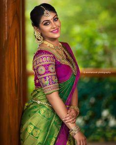 Gorgeous Yashika Aannand In South Indian Cotton Saree Wedding Saree Blouse Designs, Pattu Saree Blouse Designs, Half Saree Designs, Designer Blouse Patterns, Fancy Blouse Designs, Wedding Sarees, Tamil Wedding, Blouse Back Neck Designs, Latest Fashion Design