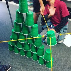 My students loved this cup tower activity so much, we had to do it again on Friday! They had to use a rubber band and 4 pieces of string…