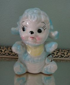 Vintage Baby Blue Lamb Planter by dearlyvintage on Etsy,