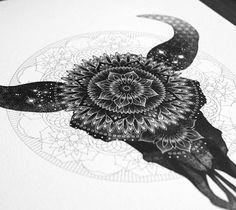 Mandala Bull Skull drawing by Sneaky Studios   No. 1221