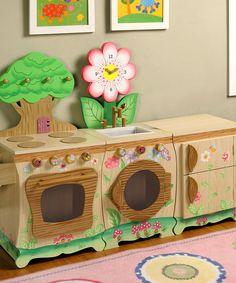 Beautiful handpainted wood kitchen for pretend play! Enchanted Forest Kitchen Set by Teamson Design #zulilyfinds
