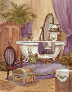 full square/round embroidery Bath crock picture embroidery with crystals diy diamond painting Diamond mosaic,bathroom art Decoupage Vintage, Vintage Diy, Decoupage Paper, Victorian Homes, Victorian Era, Foto Transfer, Victorian Bathroom, Steampunk Bathroom, French Bathroom