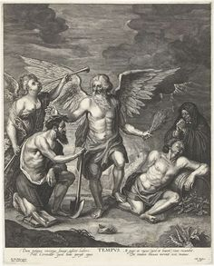 Joseph Antoine Cochet | Allegorie op de Tijd, Joseph Antoine Cochet, Gillis Hendricx, c. 1645 - c. 1678 | Vader Tijd lauwert de hardwerkende man en pijnigt de luiaard met een roede. De hardwerkende man leunt op een schoffel en naast hem ligt een stapel boeken. De luiaard leunt op een wijnvat. Achter de werkende man blaast een engel op een loftrompet. Achter de luiaard bidt een oudere vrouw voor diens zielenheil.