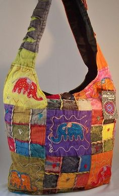 LUCKY ELEPHANT HIPPIE PEACE SIGN Sling Shoulder Bag Cross Body Boho Purse