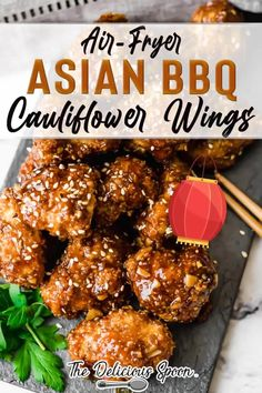 This Asian BBQ Cauliflower Wing recipe will transport your taste buds halfway across the world. Bite-sized pieces of cauliflower smothered in a sticky, sweet and rich Korean BBQ sauce. Perfect of a party appetizer, side dish or just because! | The Delicious Spoon @thedeliciousspoon #healthyairfryerrecipes #koreanrecipes #cauliflowerrecipes #easyairfryerrecipes #appetizerrecipes #homemade #healthy #koreanbbq #thedeliciousspoon Healthy Living Recipes, Clean Eating Recipes, Healthy Dinner Recipes, Whole Food Recipes, Healthy Snacks, Keto Recipes, Vegetarian Recipes, Healthy Eating, Bbq Cauliflower Wings
