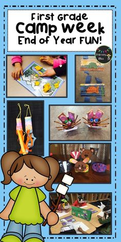 End your year on a high note with this End of Year Camp Unit for first grade. You students will enjoy these end of year activities right up until the last day of school. This week long unit includes lesson plans and materials for daily lessons in reading, writing, math, crafts/art, activities, and snack ideas! Our students have SO MUCH FUN with this unit and yours will too!