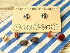 Baseball Jewelry, Sports Fan Shop, Clip On Earrings, Rugby, Great Gifts, My Etsy Shop, Soccer, Place Card Holders, Football