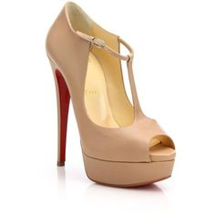 Christian Louboutin Women's Leather Peep Toe Platform Pumps - Nude ($1,050) ❤ liked on Polyvore featuring shoes, pumps, heels, apparel & accessories, nude, high heeled footwear, high heel pumps, platform pumps, christian louboutin pumps and platform shoes
