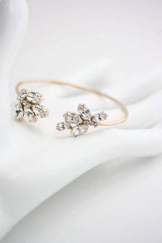 Bridal Wedding Bracelet Crystal Cuff Bracelet Open by LuluSplendor