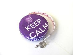 Tape Measure Keep Calm Carry Yarn by AllAboutTheButtons on Etsy