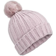Miss Selfridge Lilac Ombre Faux Fur Beanie (€26) ❤ liked on Polyvore featuring accessories, hats, lilac, pompom hat, faux fur hat, pom pom beanie hat, lilac hat and fake fur hats