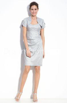 Elegant Sleeveless Scoop Short-sleeve  Beaded Mother of The Bride Dress