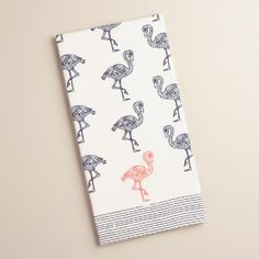 One of my favorite discoveries at WorldMarket.com: Navy and Peach Flamingo Kitchen Towel