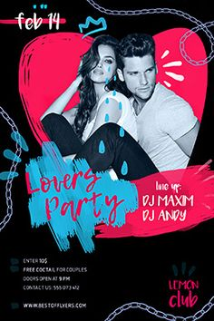 Lovers Party Free Flyer Template - Flyer for Club and Party Events! Free Psd Flyer Templates, Club Flyers, Party Poster, Party Flyer, Graphic Design Inspiration, Night Club, Flyer Design, Branding, Social Media
