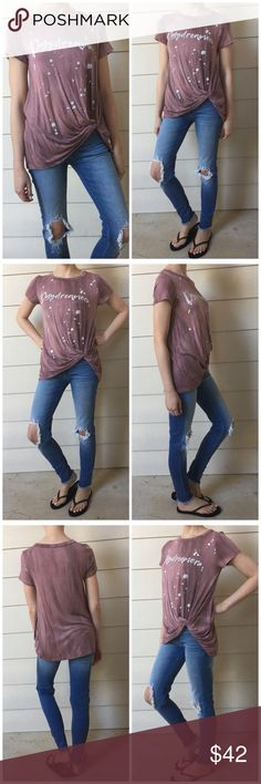 "▫️Mauve Oil Washed Daydreamer Splatter Tee This is so cute! Mauve oil washed DAYDREAMER splattered tee with side knot. Rounded neck and short sleeves. Just perfectly comfortable, breathable, the best worn-in tee feel! Modeling small. 96% rayon 4% Spandex. Made in USA. Measurements as follows: Bust: (S) 18"" (M) 19"" (L) 20"" Length: (S) 26"" (M) 27"" (L) 28"" *Bundle 2+ items for discount. Tops Tees - Short Sleeve"