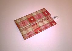 Ladies Red card wallet, Oilcloth, checks and hearts, wipe clean, velcro closure £4.99